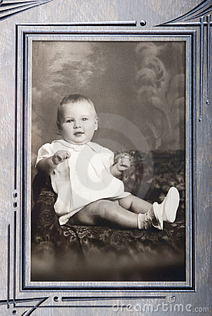 Old Vintage Photo of Young Baby Girl Portrait