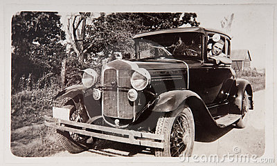 Old Vintage Model T Car Young Man Photograph