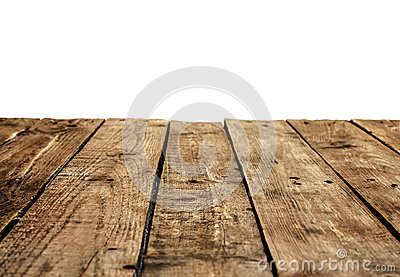 Old vintage planked wood table in perspective on white
