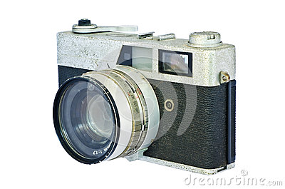 Old vintage rangefinder camera against white background.