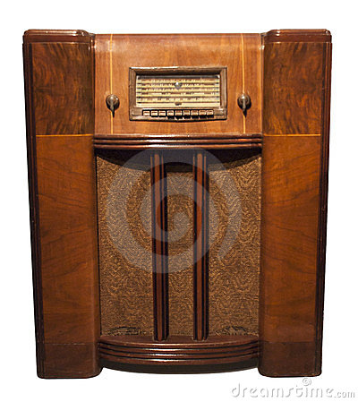 Free Old Vintage Retro Antique Radio Isolated On White Stock Image - 23434391