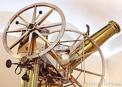 Old vintage shining brass telescope