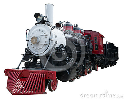 Old Vintage Steam Locomotive Train Isolated, White