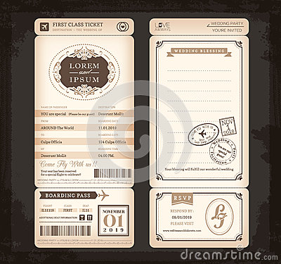 Free Old Vintage Style Boarding Pass Ticket Wedding Card Royalty Free Stock Photography - 42182887