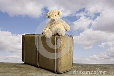Old vintage suitcase with teddy