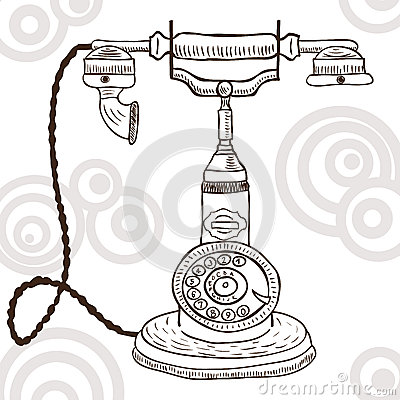 Old vintage telephone - retro illustration
