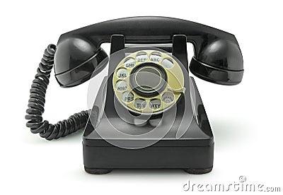 Old Vintage Telephone on White