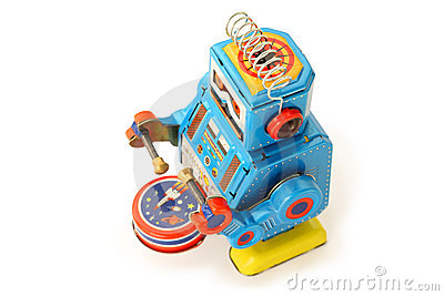 Old vintage tin robot with drum