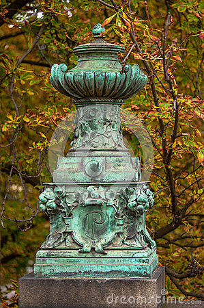 Old vintage vase in prague park