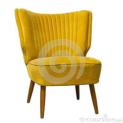Free Old Vintage Yellow Chair Isolated On White Royalty Free Stock Photos - 106972728