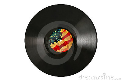 Old Vinyl record with label of vintage USA flag