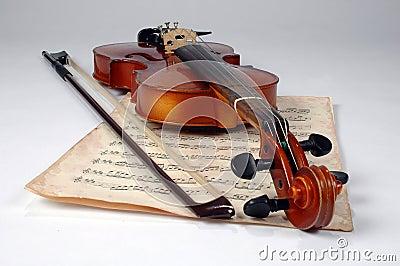 Old Violin and Music Sheet