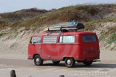 Old volkswagen bus with surfboards