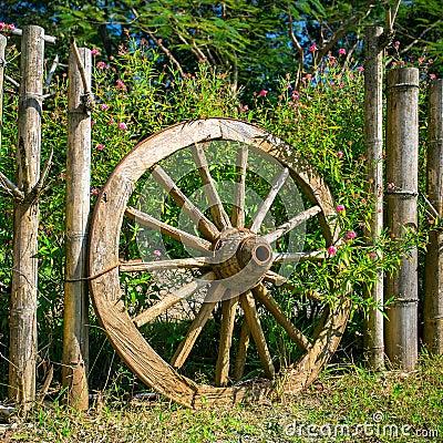 old wagon wheel garden decoration stock photo  image, Garden idea