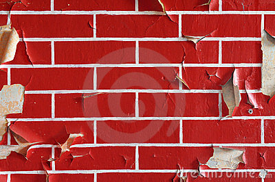 Old wall with flaky paint. Pattern of bricks.