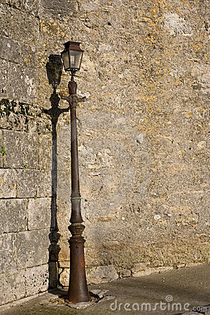 Old Wall with Lamp Post