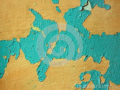 Old wall with multi-layer shelled surface Stock Photo