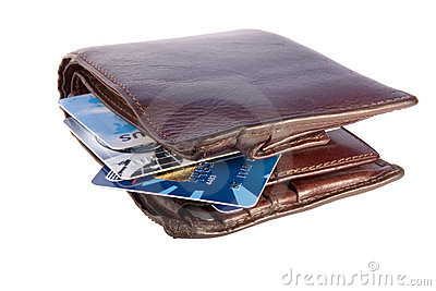Old wallet with credit cards inside