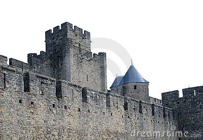 Old Walls Fortified Of Carcasson Castle, France Stock Images - Image: 5229184