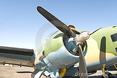 Old war plane propeller and engine