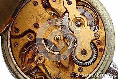 Old watch rusty gear macro