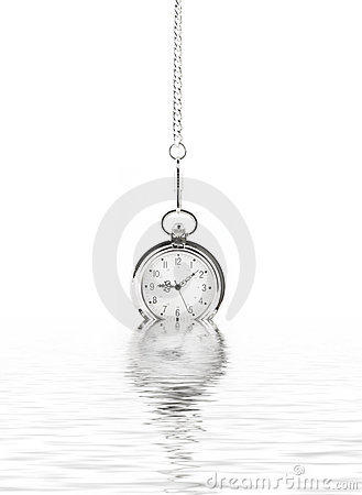 Old watch and water