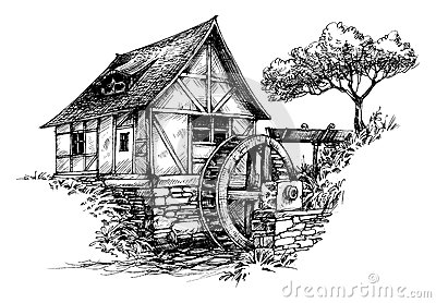 Old Water Mill Sketch Stock Vector - Image: 61184364
