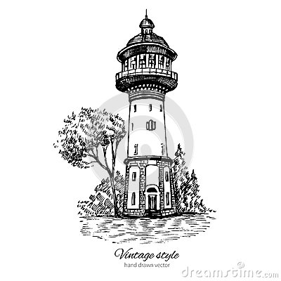 Free Old Water Tower, Symbol Of Zelenogradsk Earlier Cranz, Landmark Of The Kaliningrad Region, Russia, Vector Hand Drawn Stock Photography - 80718472