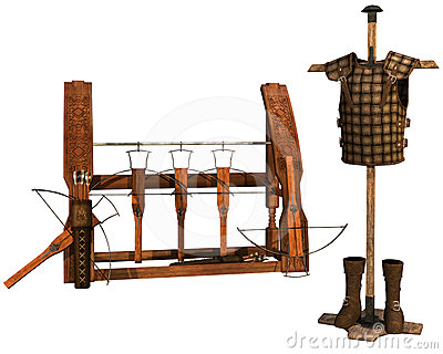 Old weapon rack and leather armor