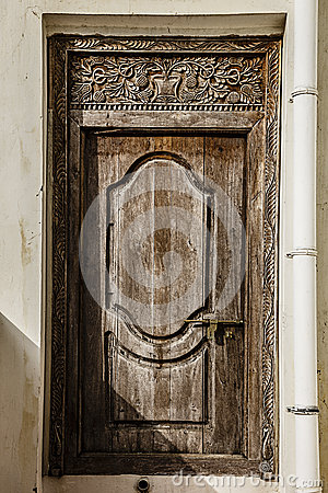 Free Old Weathered Carved Traditional Zanzibarian Door Stock Image - 52373191