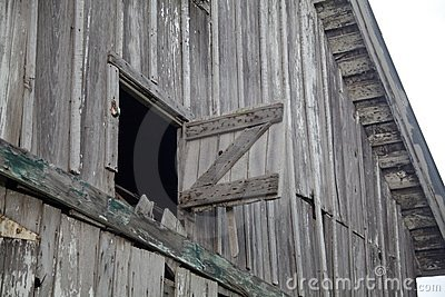 Old Weathered Gray Barn Open Hay Loft