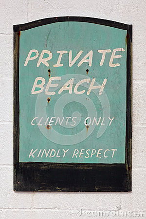 Old weathered Private beach sign