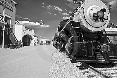 Old west town steam locomotive