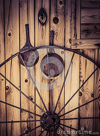 Free Old Western Cabin With Wagon Wheel Stock Image - 31838281