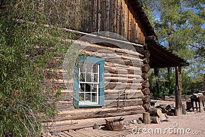Old Western Cowboy Log Cabin