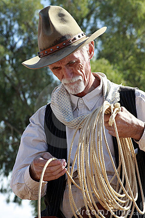 Old western cowboy roper