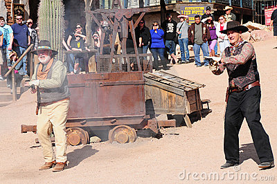 Old Western Gunfight Editorial Photography