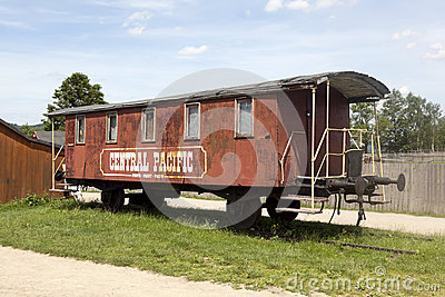 Old western railway wagon Central Pacific.