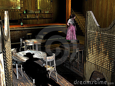 Old western saloon and girl
