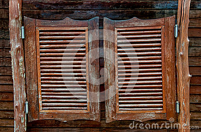 Old Western swinging saloon wooden doors