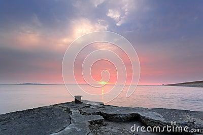 Old wharf sunset