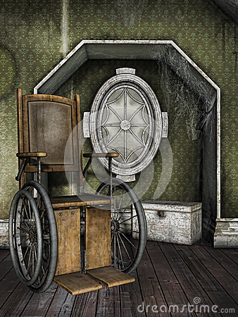 Old wheelchair in a dusty room