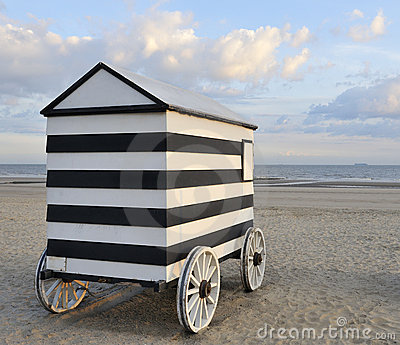 Old wheeled bathing hut