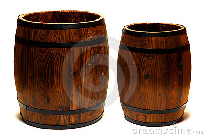 Old Whisky Barrels or Wine Casks Wood Containers