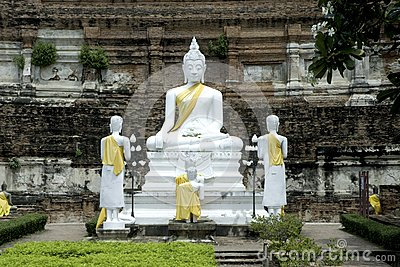 Old white Buddha in Ayuttaya temple.