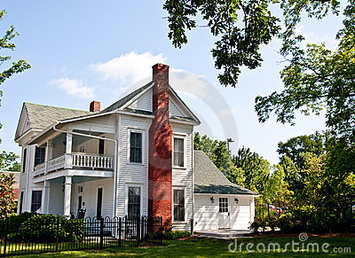 Old White Two Story Farmhouse