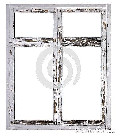 Free Old White Wood Window Frame Isolated On White Background Royalty Free Stock Photography - 105463407