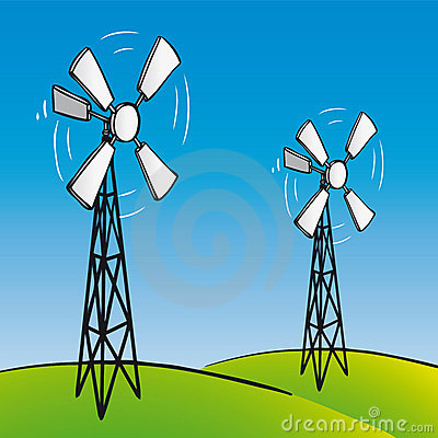 Old wind turbines (vector)