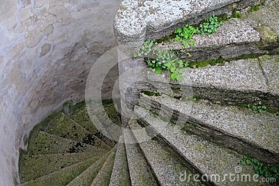 Old and Winding Concrete Stairs