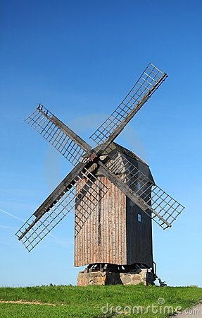 An old windmill in the afternoon sun.
